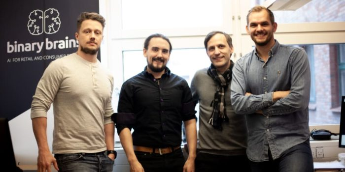 fyra av av binary brains fem delägare – niclas wedeving dan söderlund samuel wulgué och jacob kihlbaum. simon Åkerlund saknas på bilden.