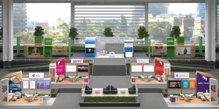 Utställningshall skapad i virtuella plattformen vVenues